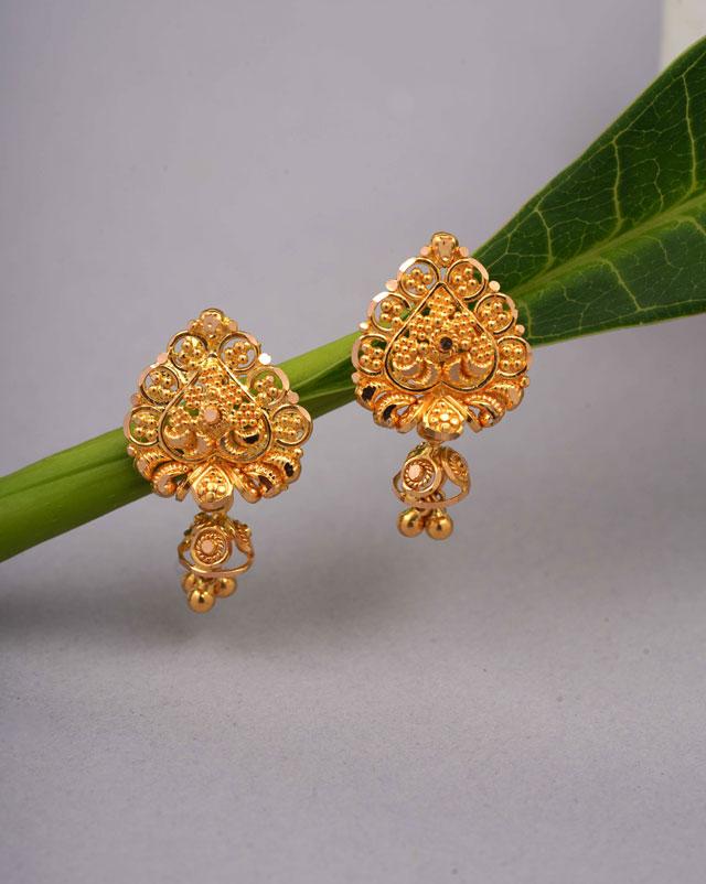 Gold Earrings 22 Karat Yellow Gold Vineeta Gold Drop Earrings