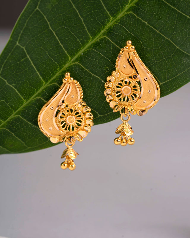 Gold Earrings 22 Karat Yellow Gold Jharna Gold Drop Earrings