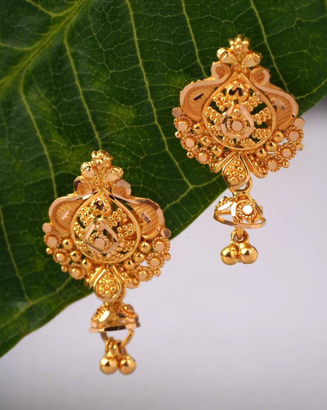Gold Earrings 22 Karat Yellow Gold Ritika Gold Drop Earrings