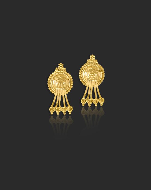 Gold Earrings 22 Karat Yellow Gold Hemal Gold Drop Earrings