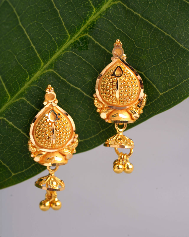 Gold Earrings 22 Karat Yellow Gold Himani Gold Drop Earrings