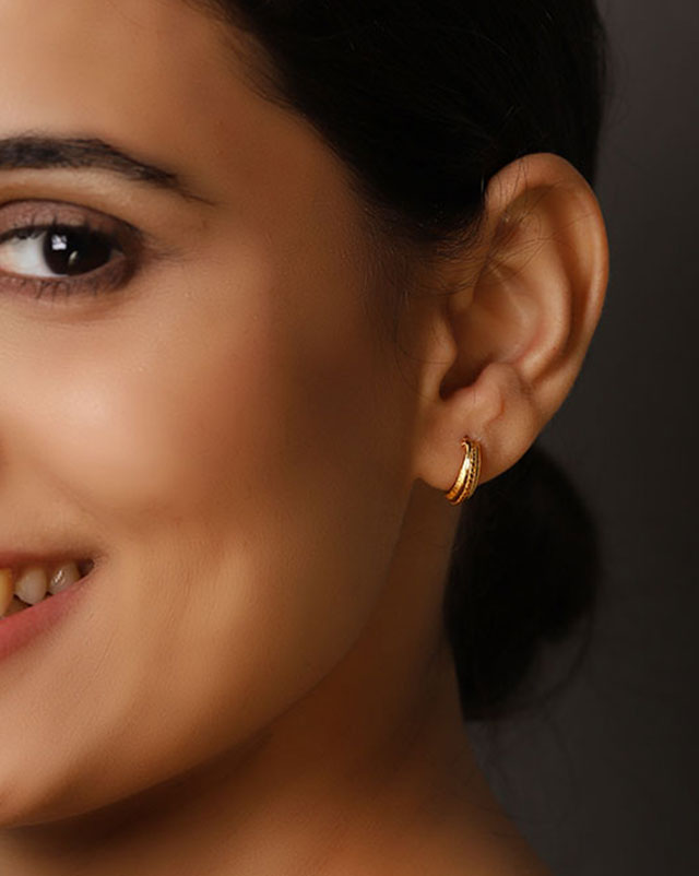 Gold Earrings 22 Karat Yellow Gold Pranita Gold Hoop Earrings