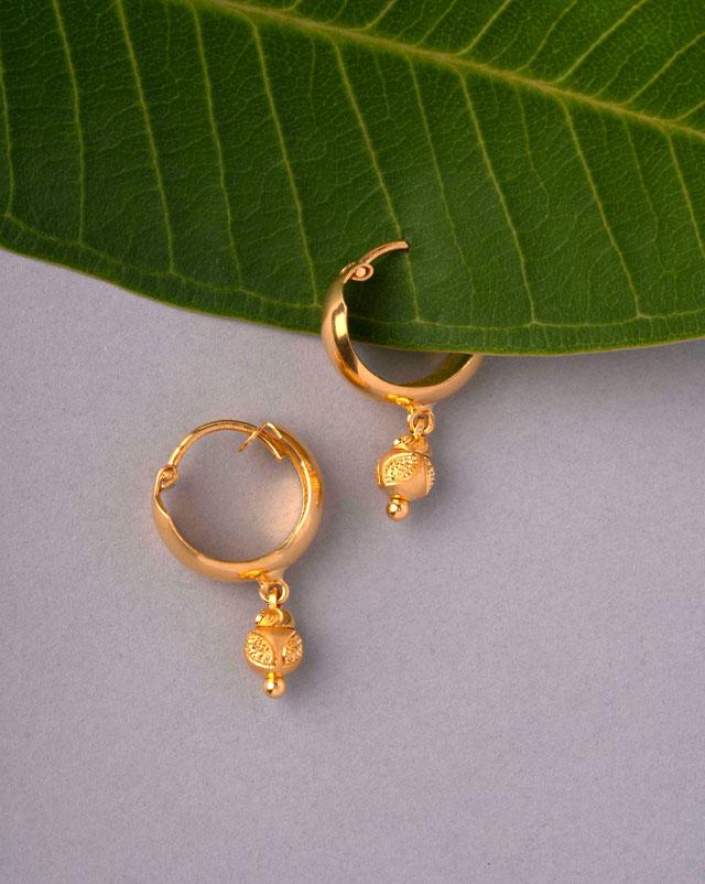 Gold Earrings 22 Karat Yellow Gold Chaya Gold Hoop Earrings