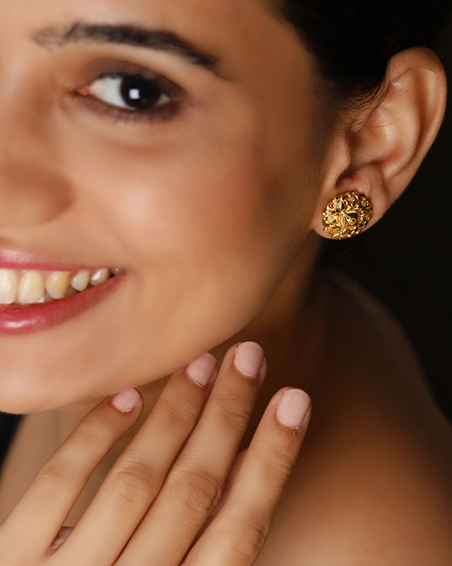Gold Earrings 22 Karat Yellow Gold Rachna Gold Stud Earrings