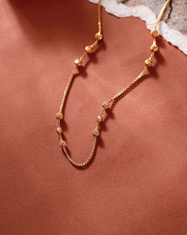 Gold Chains 22 Karat Yellow Gold Modern Beads 22Kt Gold Chain