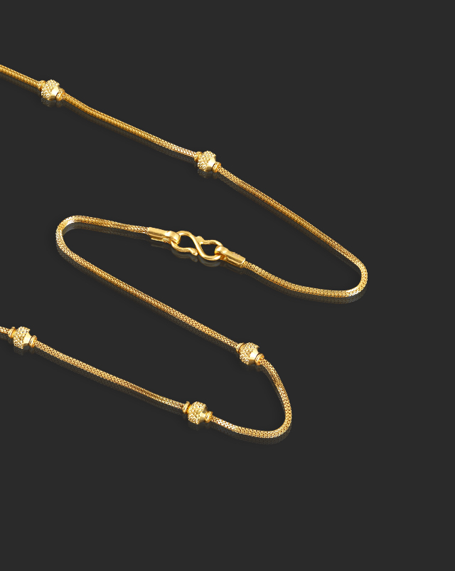 Textured Beads 22Kt Gold Chain