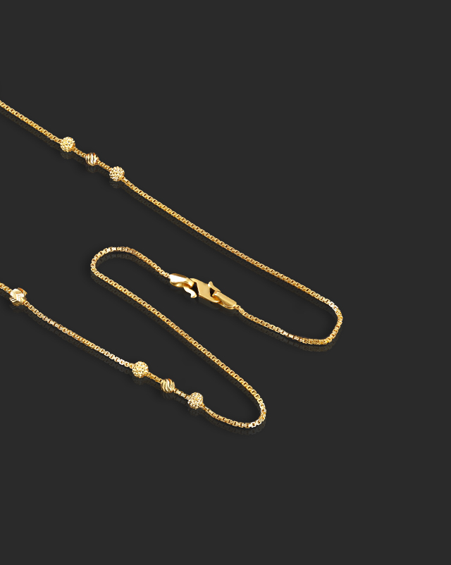 Gold Chains 22 Karat Yellow Gold Edgy Beads 22Kt Gold Chain