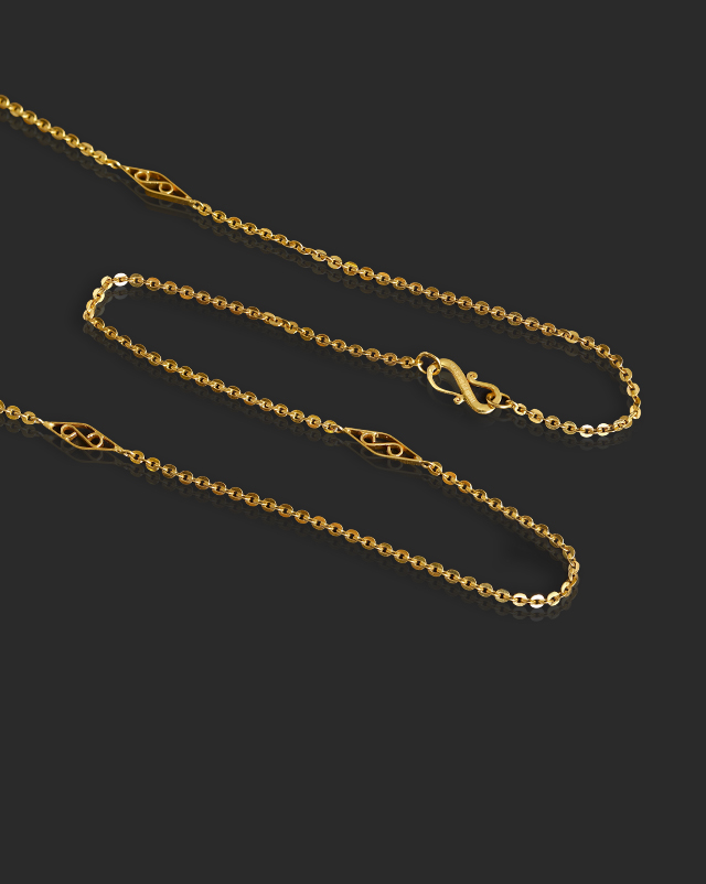 Scroll Cable 22Kt Gold Chain