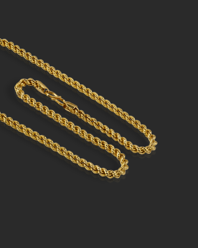 Gold Chains 22 Karat Yellow Gold Curly Rope Gold Chain
