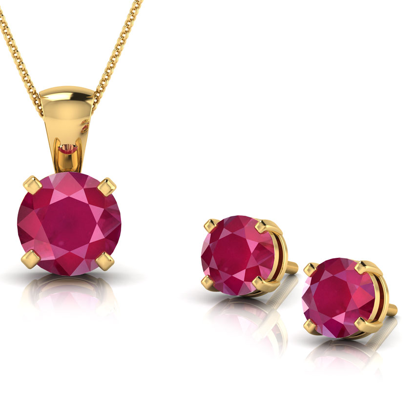 6434c857f0 Simply Ruby Matching Set jewellery India Online - CaratLane.com
