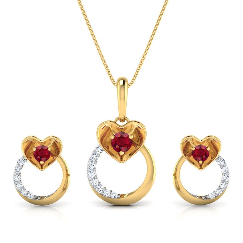 Pretty Ruby Heart Matching Set