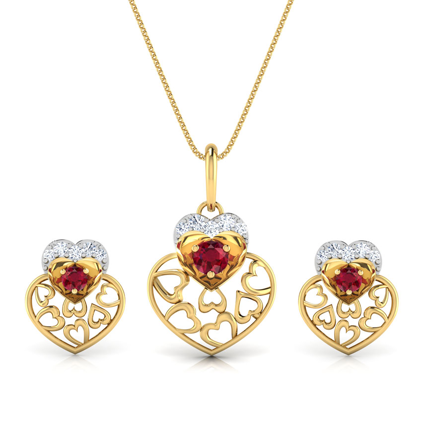 Alluring Ruby Heart Matching Set