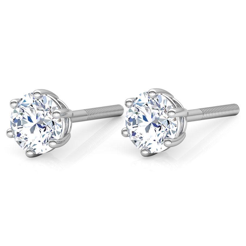 Six-Prong Stud Earrings