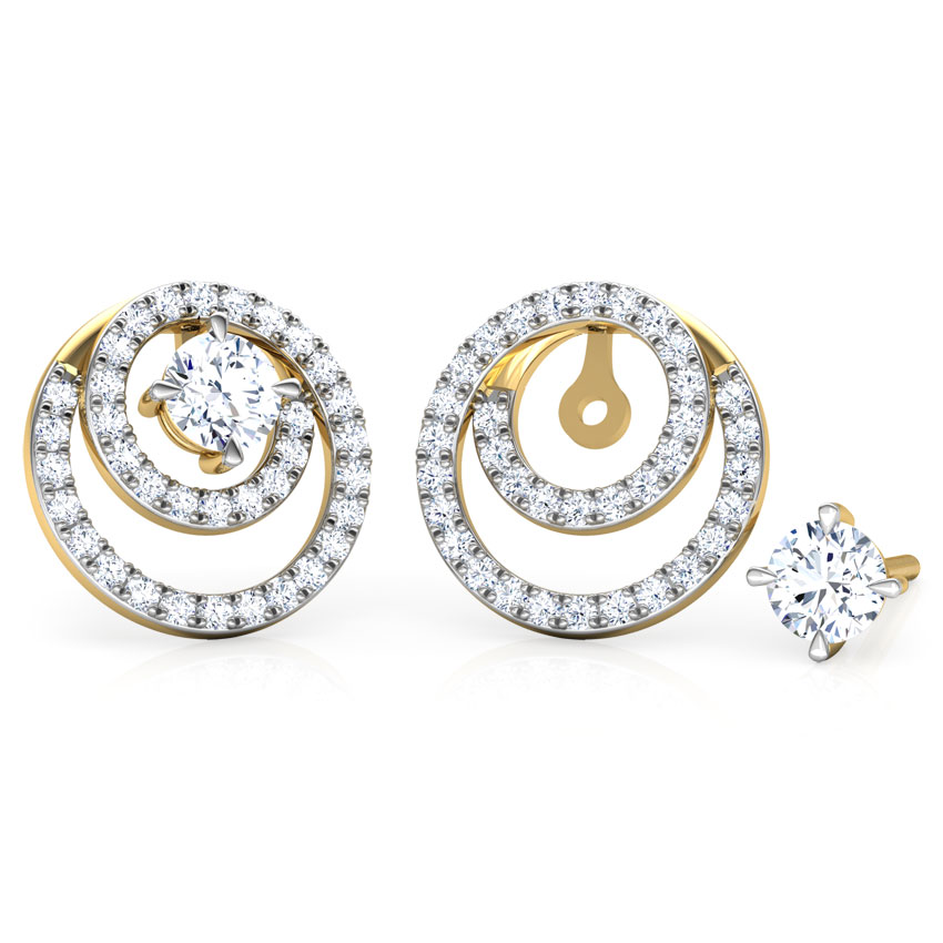 Solitaire Earrings 18 Karat Yellow Gold Shimmer Encircle Solitaire Stud Earrings