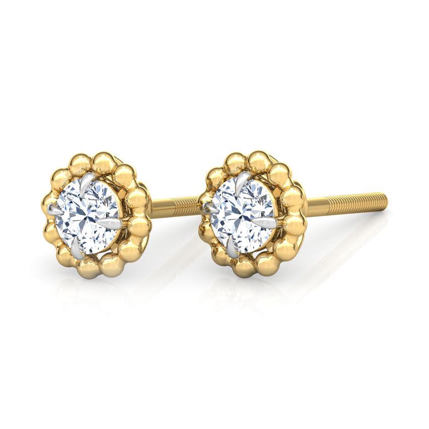 Glow Halo Solitaire Stud Earrings