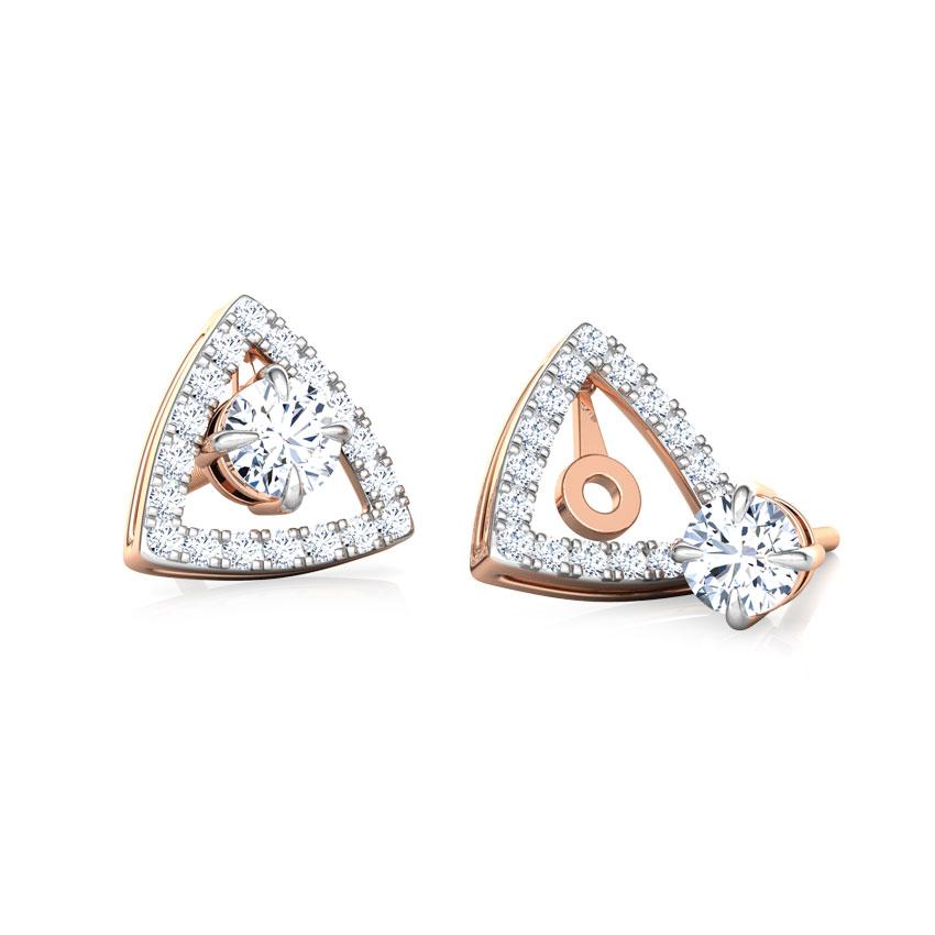 Solitaire Earrings 18 Karat Rose Gold Shine Trigon Solitaire Stud Earrings