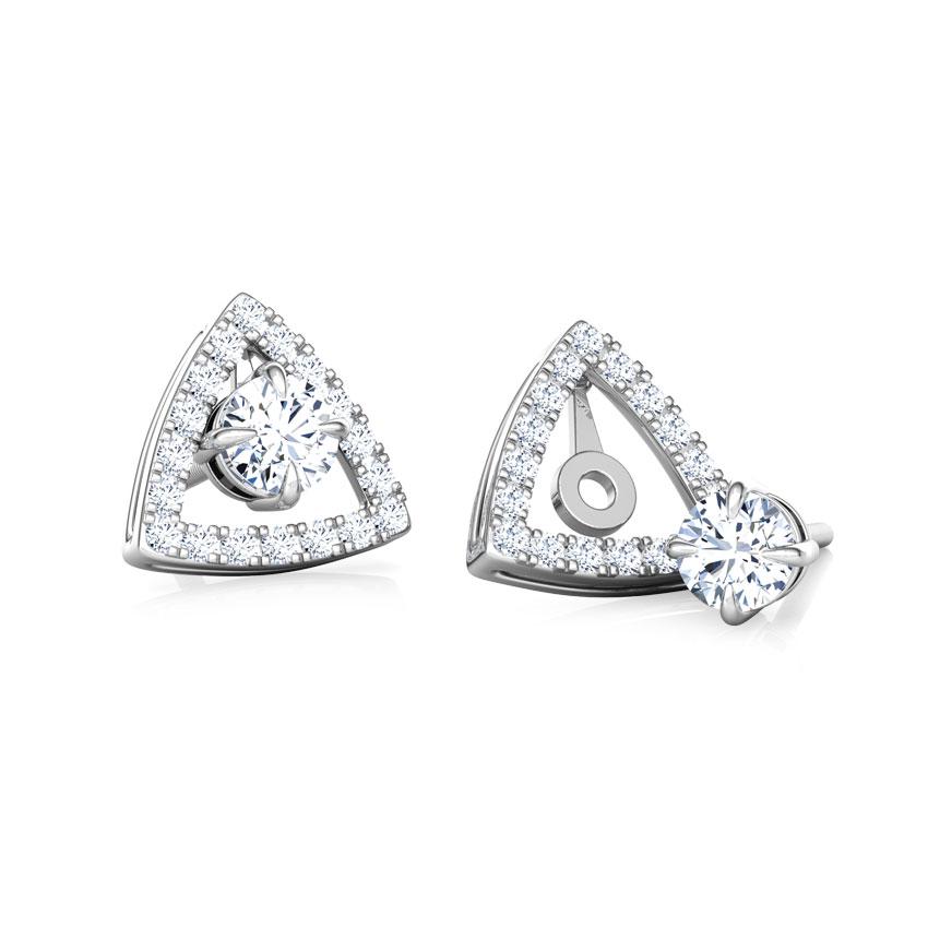Shine Trigon Solitaire Stud Earrings