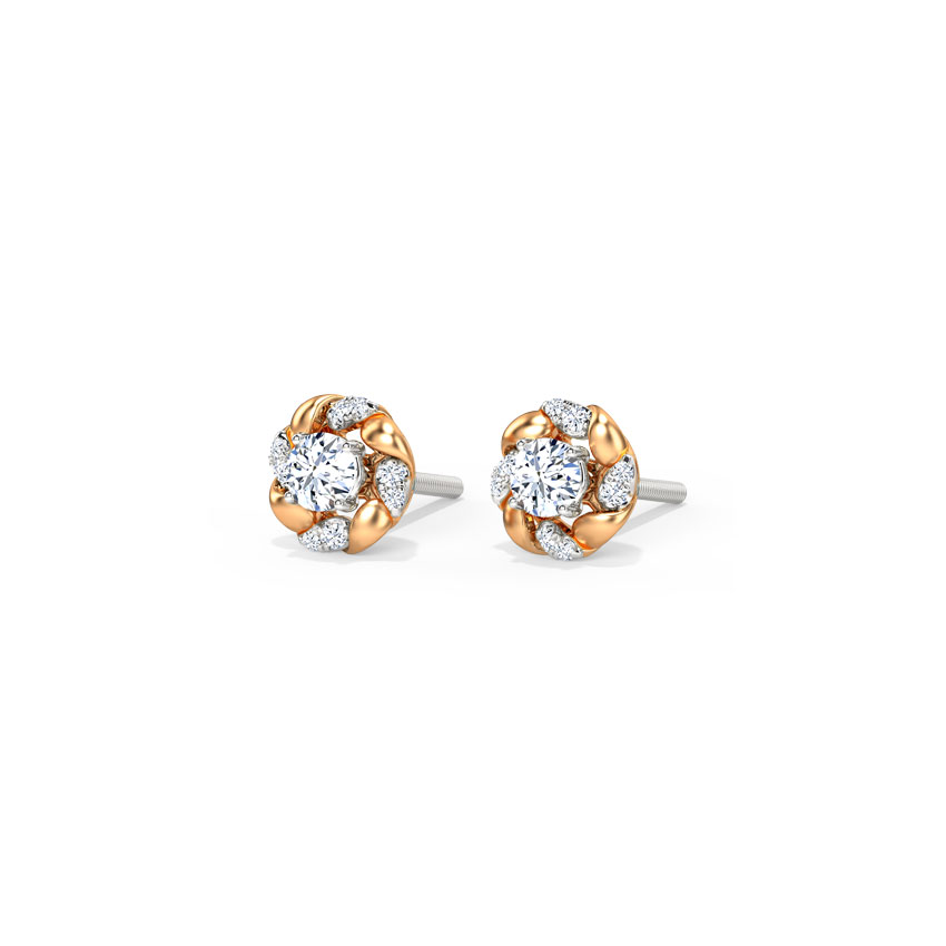 Solitaire Earrings 18 Karat Two Tone Gold Enfold Solitaire Detachable Earrings