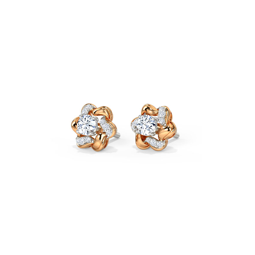Solitaire Earrings 18 Karat Two Tone Gold Flora Solitaire Detachable Earrings