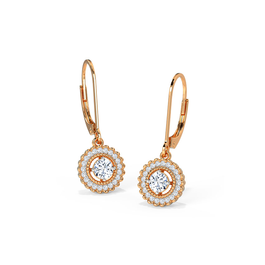 Solitaire Earrings 18 Karat Rose Gold Curl Solitaire Drop Earrings