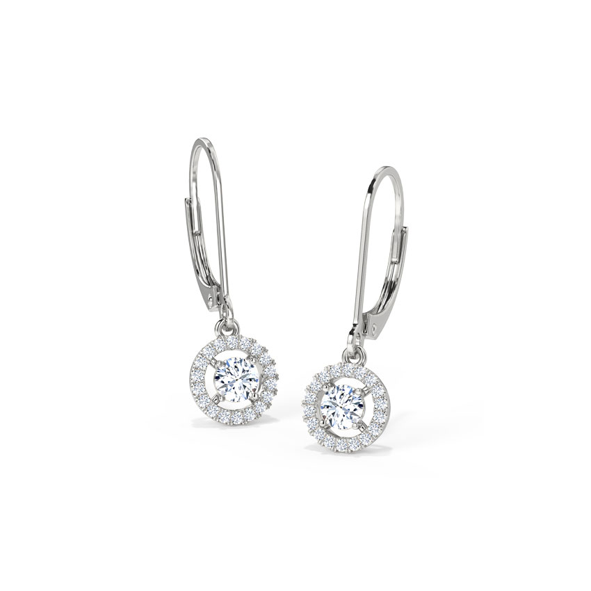 Halo Solitaire Drop Earrings