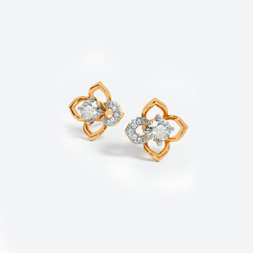 Solitaire Earrings 18 Karat Yellow Gold Charming Solitaire Stud Earrings