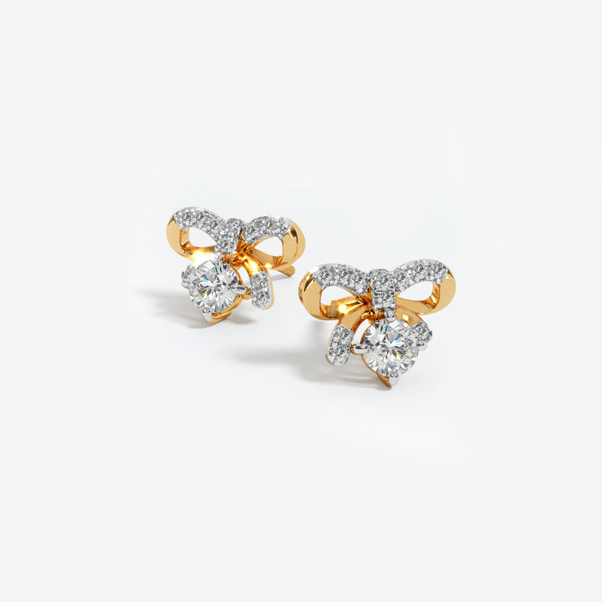 Solitaire Earrings 18 Karat Yellow Gold Adorable Solitaire Stud Earrings
