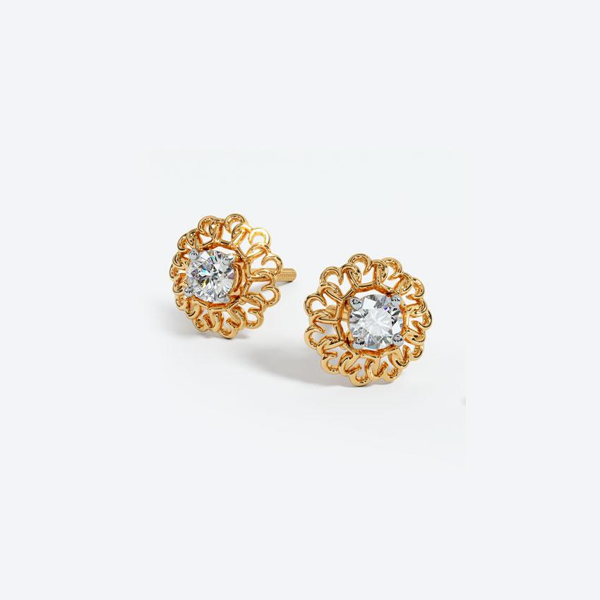 Solitaire Earrings 18 Karat Yellow Gold Delightful Solitaire Stud Earrings