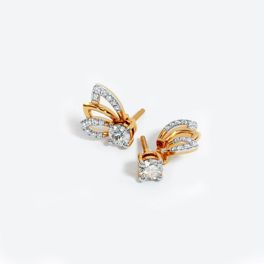 Solitaire Earrings 18 Karat Yellow Gold Dreamy Solitaire Stud Earrings