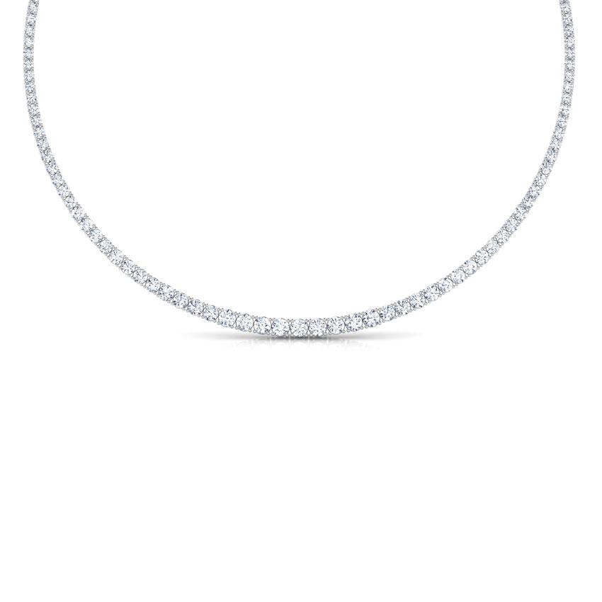 Single Line Graduating Solitaire Necklace