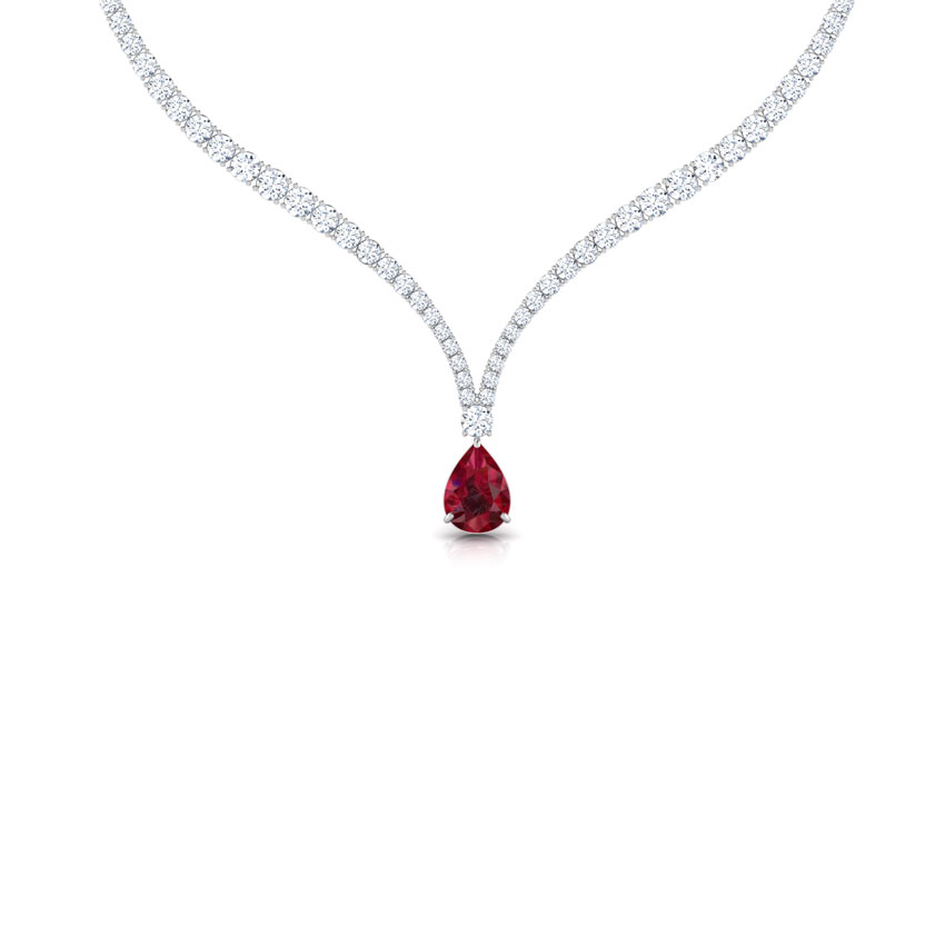 V Neck Solitaire Necklace