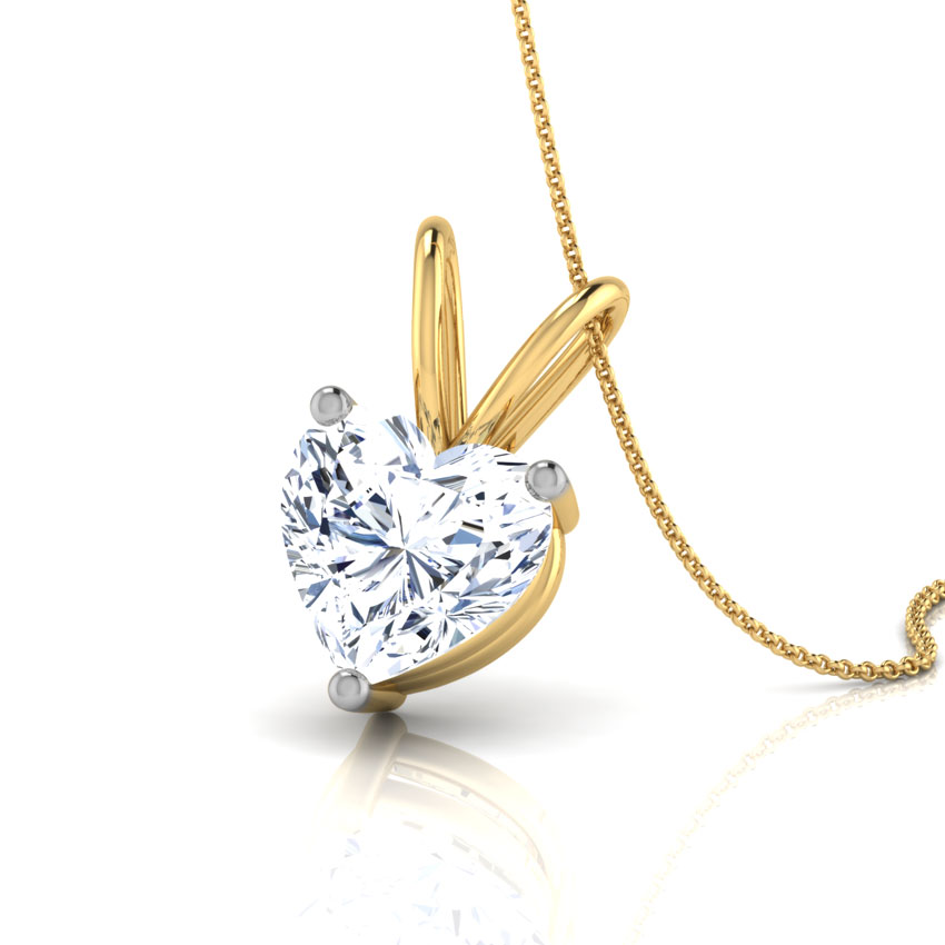 V' Loop Heart Solitaire Pendant