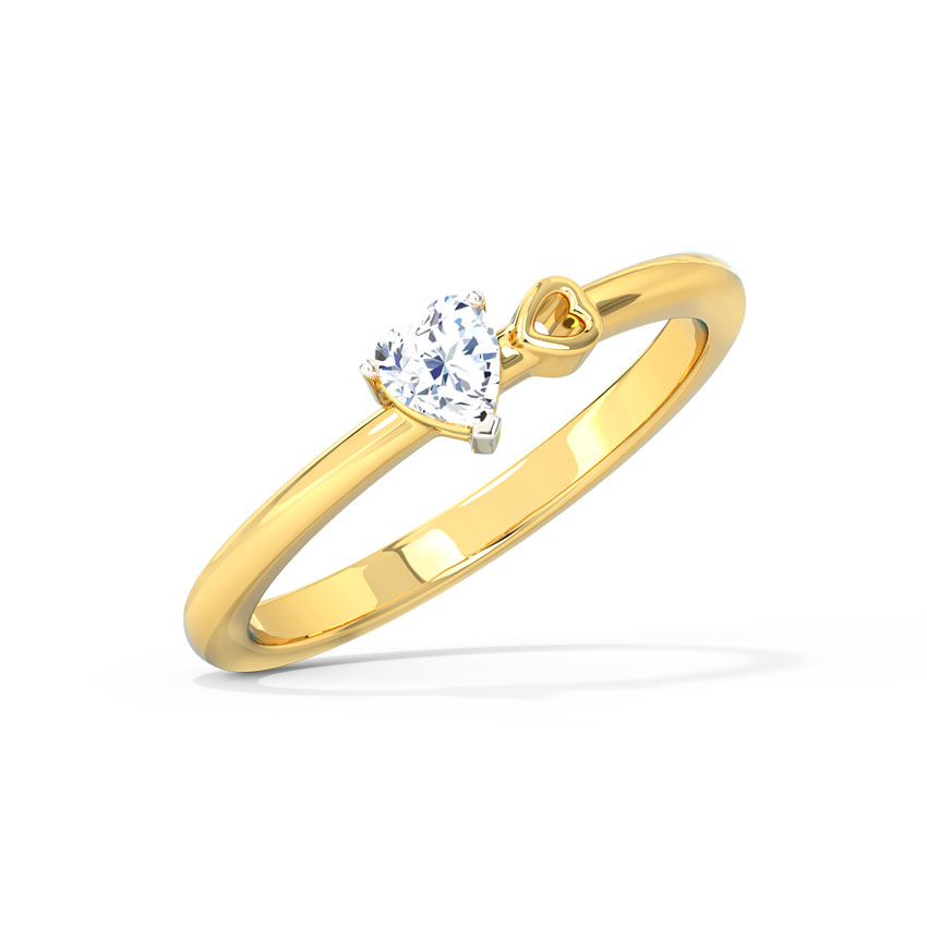 Caro Heart Solitaire Ring