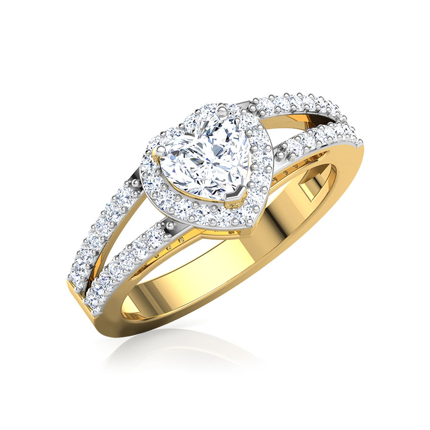 Solitaire Rings 18 Karat Yellow Gold Bella Heart Solitaire Ring