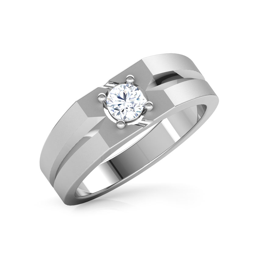 Solitaire Rings 18 Karat White Gold Perseus Solitaire Ring for Men