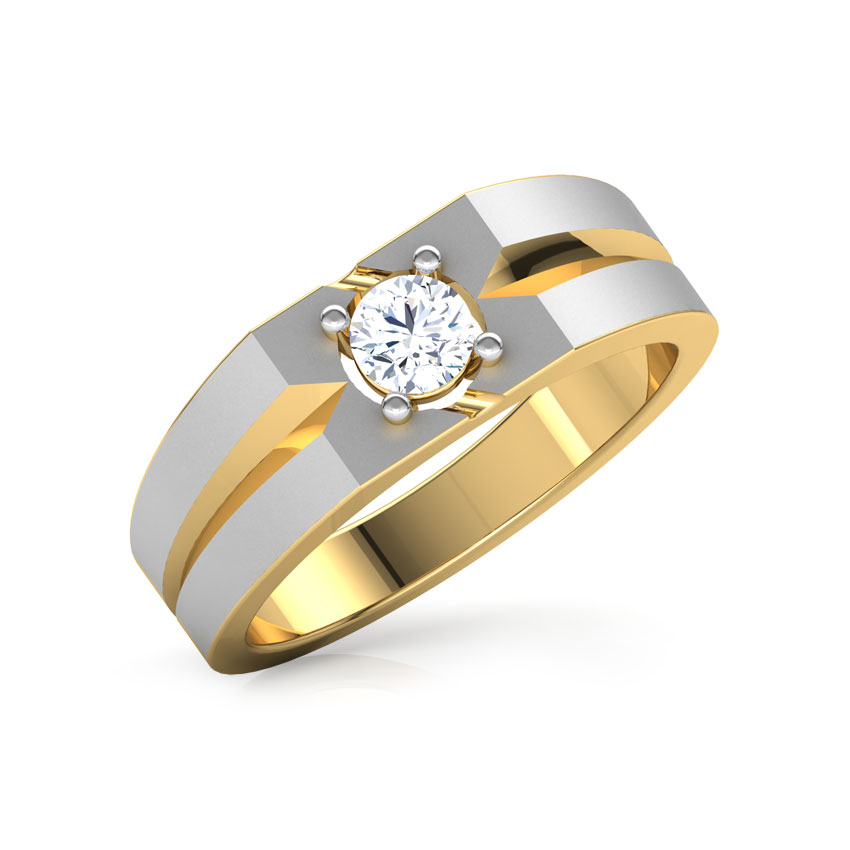 Solitaire Rings 18 Karat Yellow Gold Perseus Solitaire Ring for Men