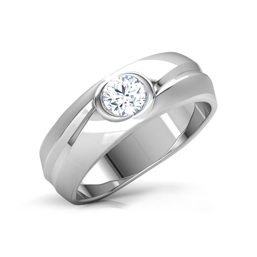 Solitaire Rings 14 Karat White Gold Turia Solitaire Ring for Men