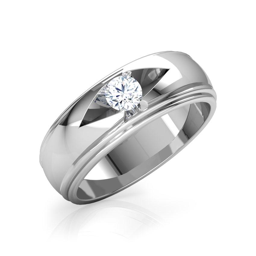 Solitaire Rings 14 Karat White Gold Frances Solitaire Ring for Men