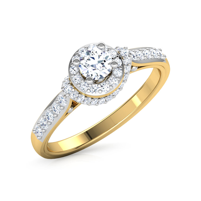 Solitaire Rings 18 Karat Two Tone Gold Kyra Halo Solitaire Ring
