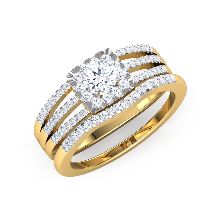 Solitaire Rings 18 Karat Yellow Gold Stellar Solitaire Bridal Ring Set