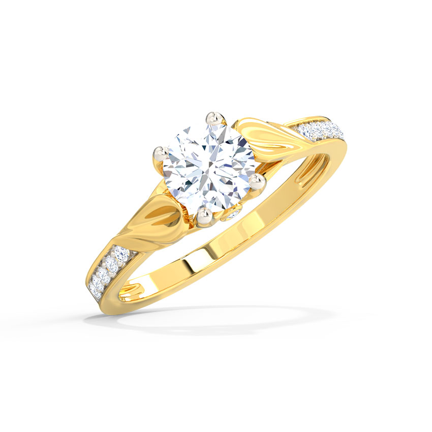 Solitaire Rings 18 Karat Yellow Gold Glaze Round Solitaire Ring