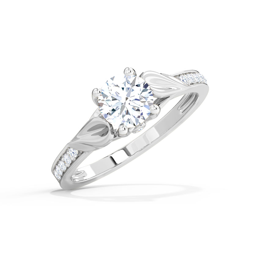 Brocaded Petal Solitaire Ring