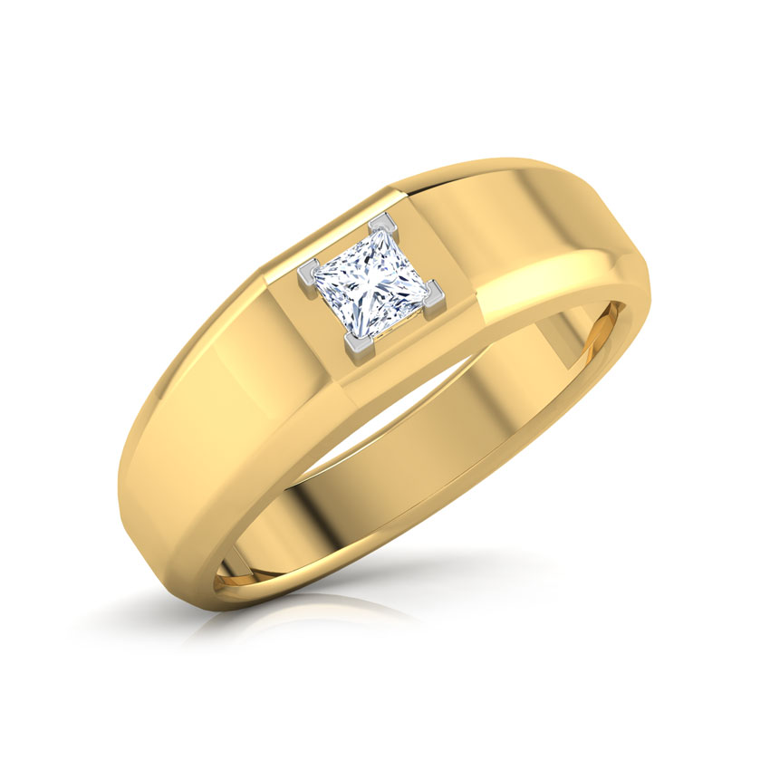 Solitaire Rings 14 Karat White Gold Alan Solitaire Band for Men