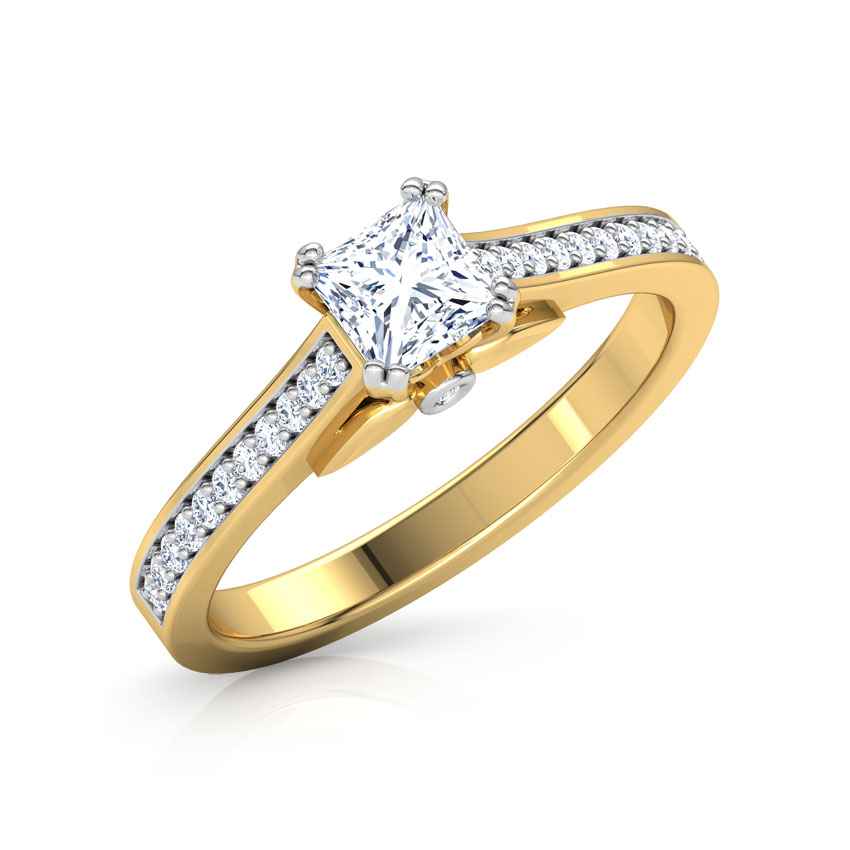 Solitaire Rings 18 Karat Yellow Gold Lily Elegant Solitaire Ring
