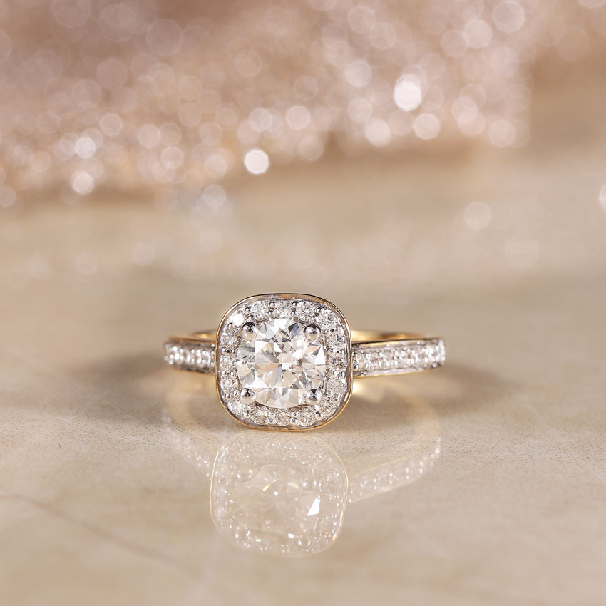 Solitaire Rings 14 Karat Yellow Gold Iona Halo Solitaire Ring