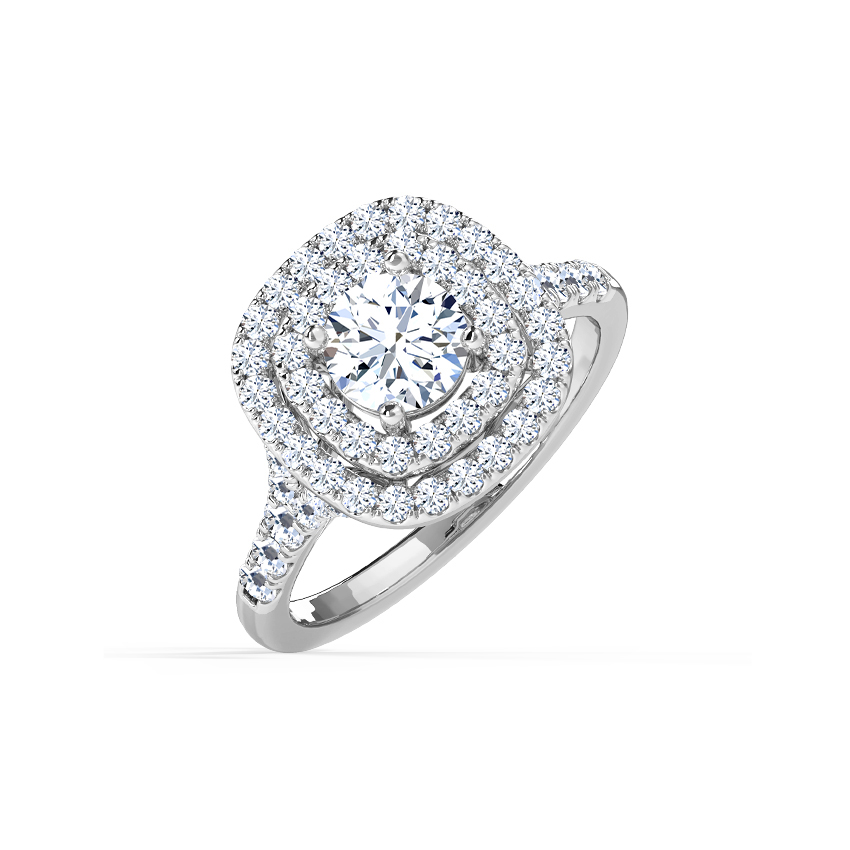Paola Halo Solitaire Ring