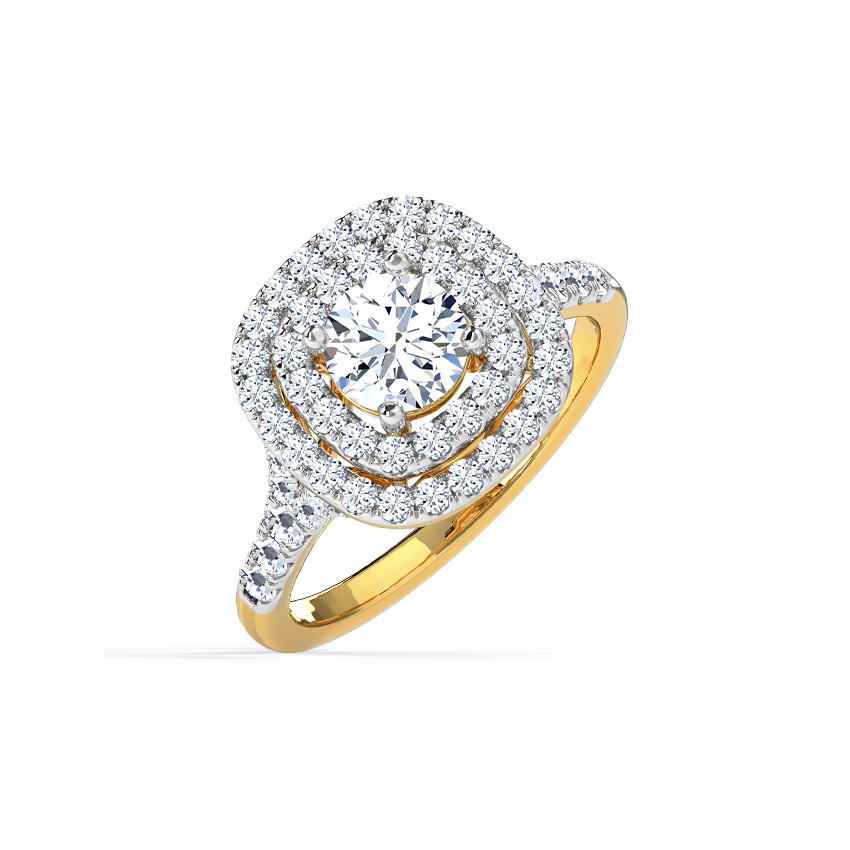 Solitaire Rings 14 Karat Yellow Gold Paola Halo Solitaire Ring