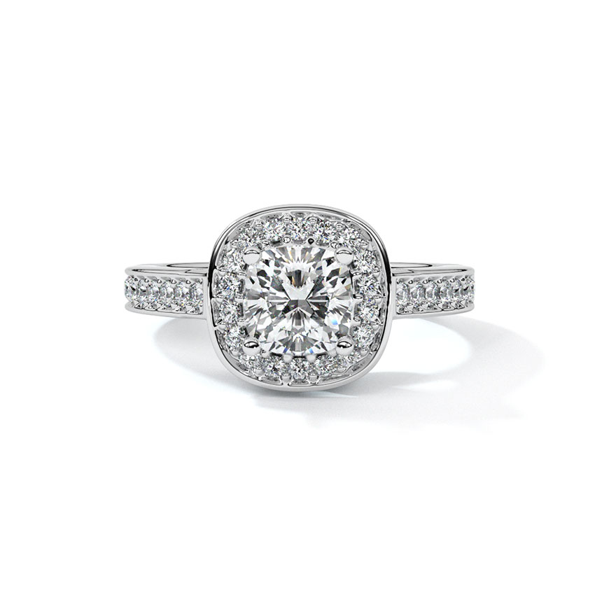 Solitaire Rings 18 Karat Yellow Gold Halo Solitaire Ring