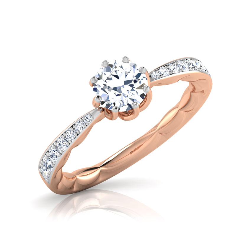 Solitaire Rings 18 Karat Rose Gold Swirl Solitaire Ring