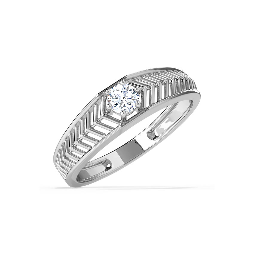 Solitaire Rings 18 Karat White Gold Ted Solitaire Ring for Men